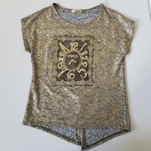 Missshop Gold Sequined Fun Clock Graphic Top - M